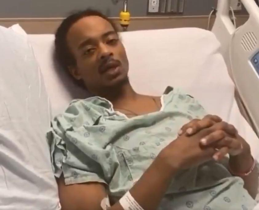 Jacob Blake speaking from his hospital bed in a video posted to Twitter on Saturday.