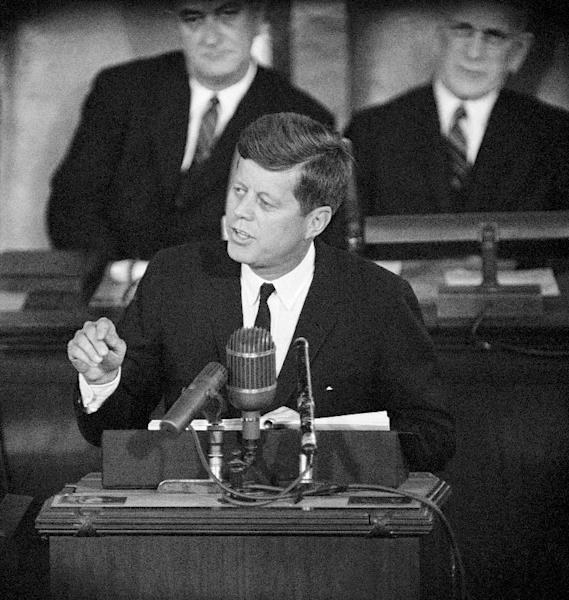 "FILE - This Jan. 11, 1962 file photo shows President John F. Kennedy giving his State of the Union address on Capitol Hill in Washington. Is ""strong"" losing its strength? Presidents of both parties have long felt compelled to sum up the state of the union with a descriptive word or two in their State of the Union addresses. Mostly the same word. For many years now, ""strong"" has been the go-to adjective. (AP Photo, File)"