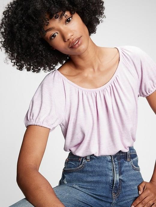 <p>Lilac's a look with this loose <span>Gap Puff Sleeve Top</span> ($10, originally $30).</p>