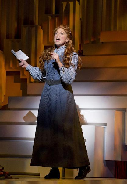 "This theater image released by The Publicity Office shows Carolee Carmello during a performance of the musical ""Scandalous: The Life and Trials of Aimee Semple McPherson,"" at the Neil Simon Theatre in New York. (AP Photo/The Publicity Office, Jeremy Daniel)"