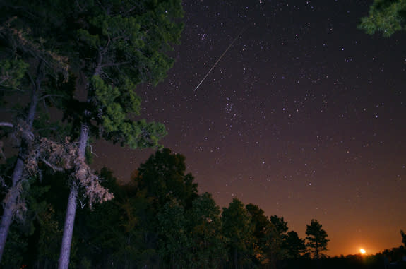 Photographer Jeff Rose captured this amazing photo of a Perseid meteor and the bright moon just after 1 a.m. on Aug. 11 during the 2012 from Cave City, Arkansas, during the 2012 Perseid meteor shower peak.