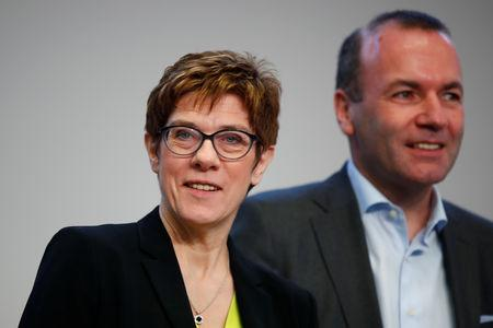 CDU party leader Annegret Kramp-Karrenbauer and Manfred Weber, member of the Christian Social Union party, CSU, and top candidate of the European People's Party (EPP) for the European elections attend a strategy meeting of Germany's governing Christian Democratic Union (CDU) party in Potsdam, Germany, January 14, 2019. REUTERS/Axel Schmidt