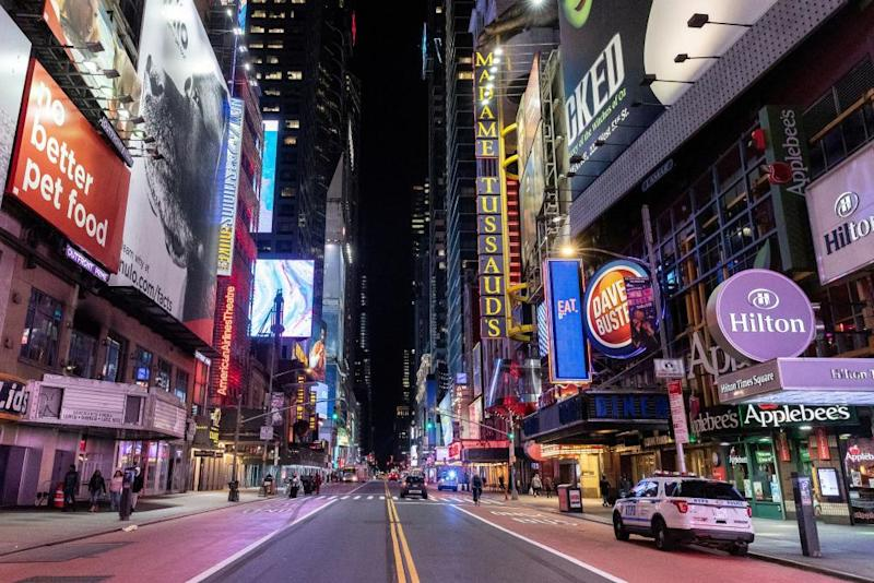 An empty Times Square. New York is now considered a global center of the pandemic.