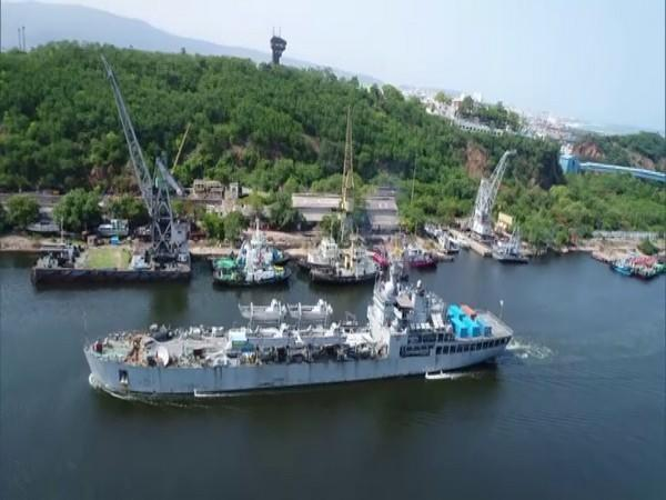 INS Airavat at Visakhapatnam with critical COVID relief consignment.