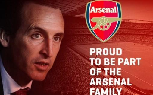 "Unai Emery appears to have announced himself as Arsenal's new manager. The 46-year-old's official website - www.unai-emery.com - displayed a picture of the former Paris St Germain head coach alongside an Arsenal crest and the message: ""Proud to be part of the Arsenal family."" After social media lit up at the supposed revelation, www.unai-emery.com stopped working, and showed an error message instead. The Spaniard's appointment as Arsene Wenger's replacement was expected to become official later this week, but it now appears the Spaniard has confirmed the news. Emery left PSG at the end of the season Credit: AFP Emery left PSG at the end of this campaign following a two-year stint where he won one Ligue 1 title and four domestic cups, having led Sevilla to three successive Europa League trophies prior to that. Mikel Arteta, Luis Enrique and Juventus' Massimiliano Allegri were among those strongly linked to the role and Emery has only been seen as an outside bet with bookmakers since Wenger's departure was first confirmed last month."