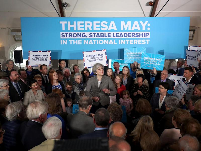 Prime Minister Theresa May delivers a speech while on the election campaign trail in the village of Crathes, Aberdeenshire. (PA)