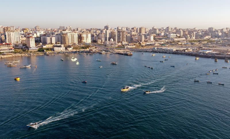 picture taken with a drone shows Palestinian fishing boats at Gaza's seaport in Gaza City