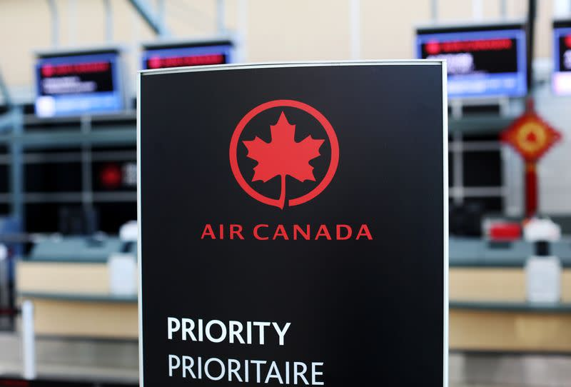 Air Canada signage is pictured at Vancouver's international airport in Richmond,