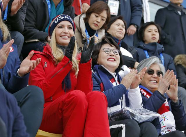 <p>Ivanka Trump, U.S. President Trump's daughter and senior White House adviser, cheers during the Men's Big Air Finals of the PyeongChang 2018 Winter Olympic Games at the Alpensia Ski Jumping Centre on February 24, 2018 in Gangneung, Pyeongchang, South Korea. (Photo by Eric Gaillard-Pool/Getty Images) </p>