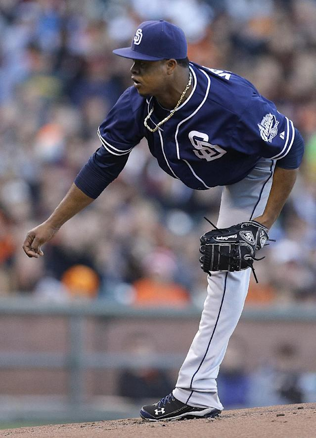 San Diego Padres' Edinson Volquez works against the San Francisco Giants in the first inning of a baseball game Monday, June 17, 2013, in San Francisco. (AP Photo/Ben Margot)