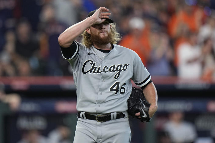 Chicago White Sox relief pitcher Craig Kimbrel (46) reacts after giving up a two-run homer to Houston Astros' Kyle Tucker during the seventh inning in Game 2 of a baseball American League Division Series Friday, Oct. 8, 2021, in Houston. (AP Photo/David J. Phillip)
