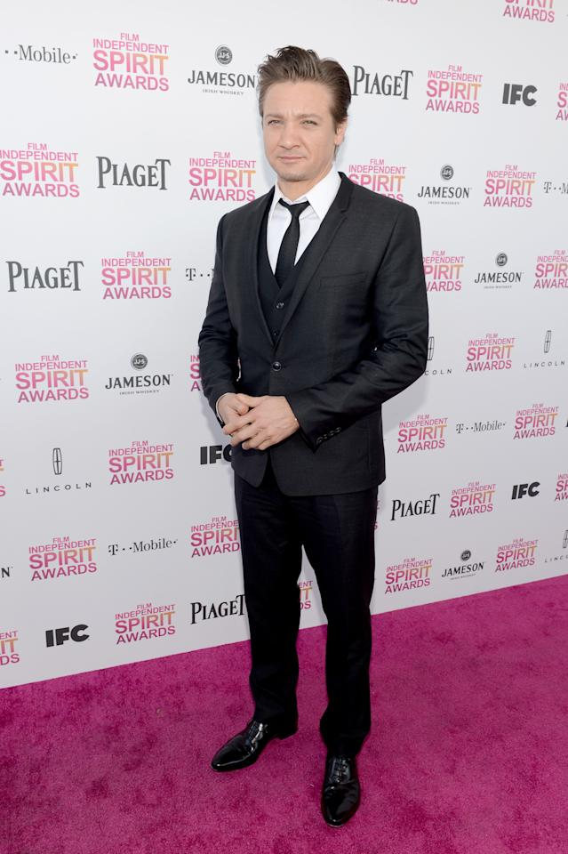 Jeremy Renner arrives with Jameson prior to the 2013 Film Independent Spirit Awards at Santa Monica Beach on February 23, 2013 in Santa Monica, California.