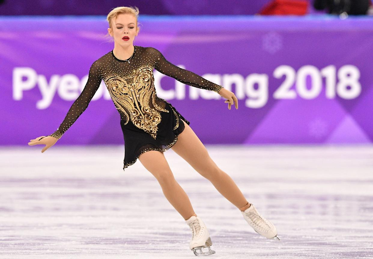 The Finnish athlete pulled out all the stops with this gorgeous, glittering costume, which she wore for her short program during thewomen'ssingle event.