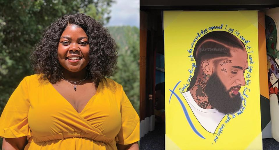 Artist Jeresneyka Rose, left, says she was stunned to find out her portrait of Nipsey Hussle, right, was being sold by  Walmart without her permission. (Photo: @ArtByRizzo)Photo: @ArtByRizzo
