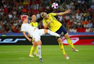 Nilla Fischer of Sweden is challenged by Sophie Schmidt of Canada during the 2019 FIFA Women's World Cup France Round Of 16 match between Sweden and Canada at Parc des Princes on June 24, 2019 in Paris, France. (Photo by Richard Heathcote/Getty Images)