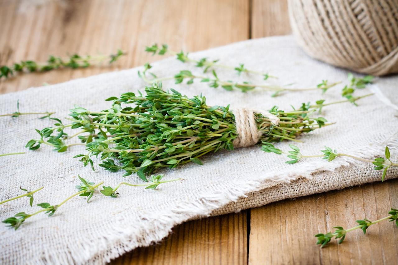 """<p>""""Thyme functions as both a culinary herb and a medicine,"""" says <a href=""""https://www.amazon.com/Michael-S.-Fenster/e/B0069YJ0B6%3Fref=dbs_a_mng_rwt_scns_share"""">Michael S. Fenster</a>, MD, interventional cardiologist, author, and professional chef. The leaves and flowers contain thymol and carvacrol, which act as antispasmodics, expectorants, and contain antibacterial and antiviral compounds—all of which can help improve coughs, he explains. Add the herb to your meals or enjoy it in a soothing tea. </p>"""