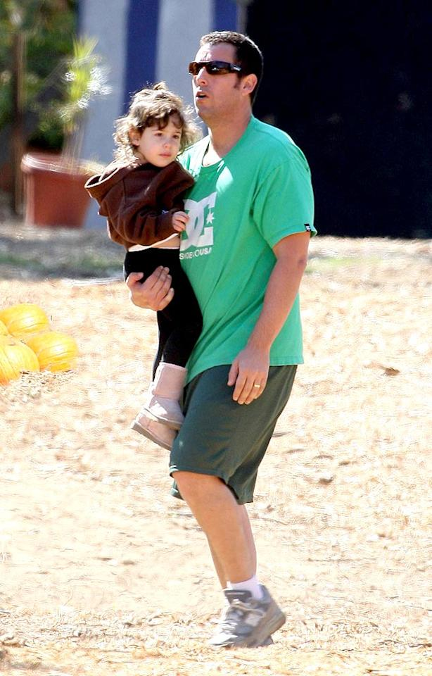 "Looks like Adam Sandler and his daughter Sadie just rolled out of bed and into the pumpkin patch. Leo-Lins/<a href=""http://www.x17online.com"" target=""new"">X17 Online</a> - October 11, 2008"