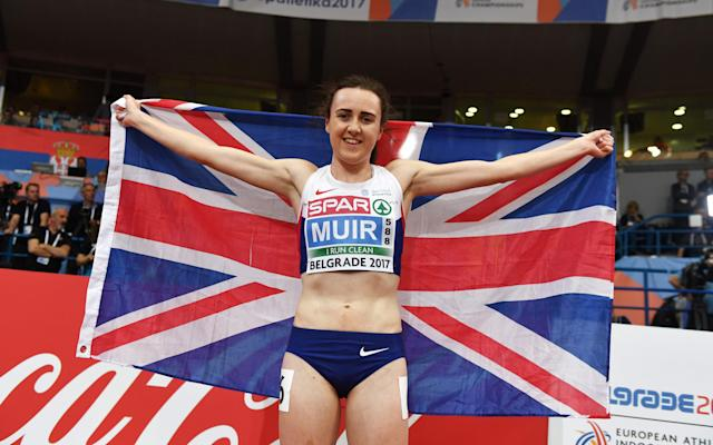 <span>Muir claimed two European Indoor golds in the space of 24 hours in Belgrade</span> <span>Credit: afp </span>
