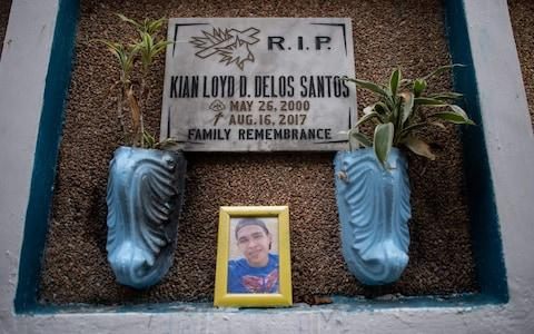 Rodrigo Duterte has vowed to pardon authorities involved in his bloody crackdown, but even he refused to defend the 2017 killing of Kian Delos Santos - Credit: NOEL CELIS/AFP/Getty Images
