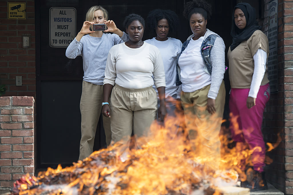 """<p><strong>This Season's Theme:</strong> """"We're going to get to see how a person that feels they have nothing to lose, fights and goes to bat,"""" says Danielle Brooks, who plays Taystee.<br /><br /><strong>Where We Left Off:</strong> After Poussey was accidentally suffocated by an improperly-trained young guard, Taystee led the angry inmates through the halls in protest. The tension culminated in a standoff when Daya (Dascha Polanco) grabbed the gun from cruel guard Humphrey (Michael Torpey) and pointed it at his head.<br /><br /><strong>Coming Up:</strong> We pick right back up at that moment, and all 13 episodes of Season 5 take place in the 72 hours that follow. The unrest leads to an inmate riot and Litchfield lockdown, in which Taystee makes some demands for better treatment on behalf of the inmates. """"Taystee is a natural born leader,"""" says Brooks. """"But what makes this [situation] different for her is that she's never felt like she had anywhere else to go. She isn't like some of the other women, who have loved ones to get back to. [Litchfield] has been her home, so the fire in her is a little hotter.""""<br /><br /><strong>A Fairy Tale Ending?:</strong> Brooks hints that Season 5 will end just as intensely as it began. """"You know the Red Riding Hood story, what happens to the wolf? Well, the big bad wolf will die,"""" she says. """"The giant will fall. And people can interpret that how they want."""" <em>— KP</em><br /><br />(Photo: Jojo Whilden/Netflix) </p>"""