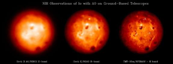 Simulation of observations of Io using the W.M. Keck telescope and its current AO system, a next generation AO system mounted on the W.M. Telescope (KNGAO), and the Thirty Meter Telescope (TMT) equipped with its AO system named (NFIRAOS).