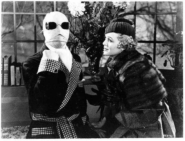 "The original 1933 ""The Invisible Man"" featured Claude Rains (left) as bandaged scientist Jack Griffin and Gloria Stuart as love interest Flora Cranley."