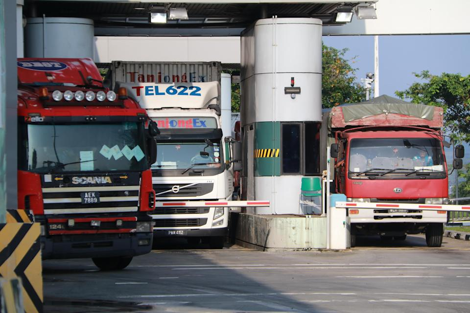 Delivery trucks at Tuas Checkpoint.