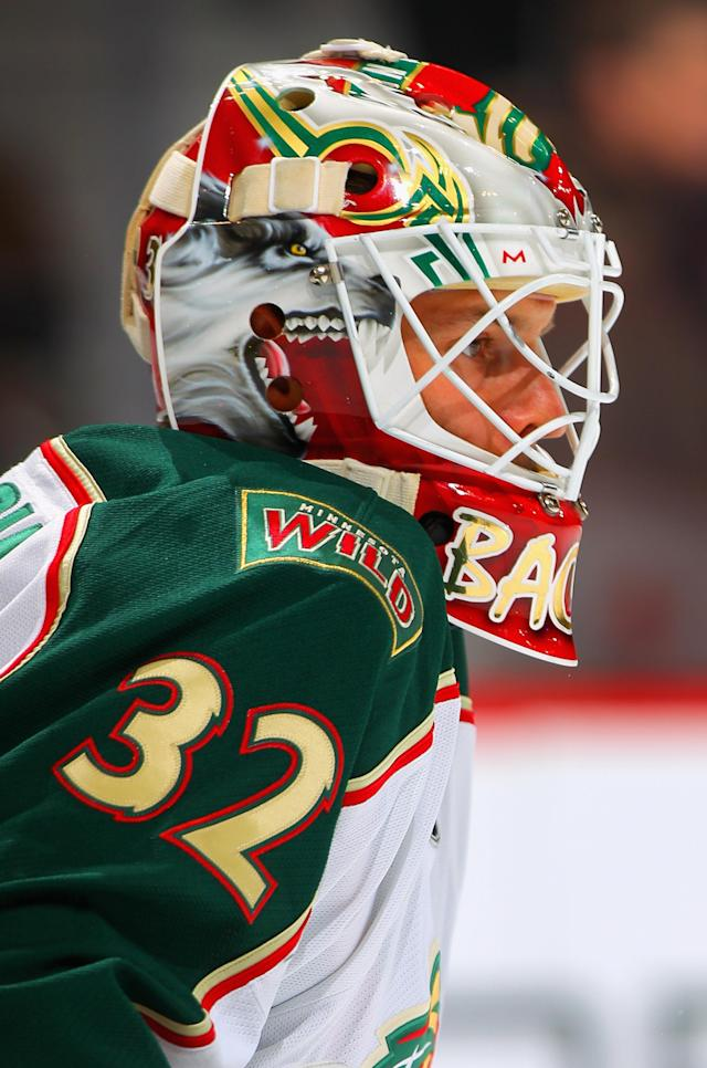 DENVER, CO - FEBRUARY 02: Goalie Niklas Backstrom #32 of the Minnesota Wild warms up prior to facing the Colorado Avalanche at the Pepsi Center on February 2, 2012 in Denver, Colorado. (Photo by Doug Pensinger/Getty Images)