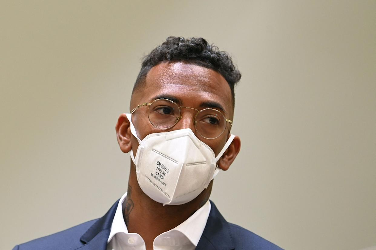 Former Bayern Munich defender Jerome Boateng is seen on the day of his trial in court in Munich, southern Germany, on September 9, 2021.