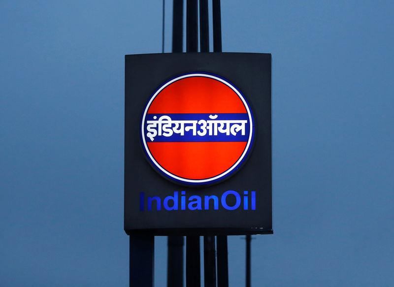 A logo of Indian Oil is picture outside a fuel station in New Delhi