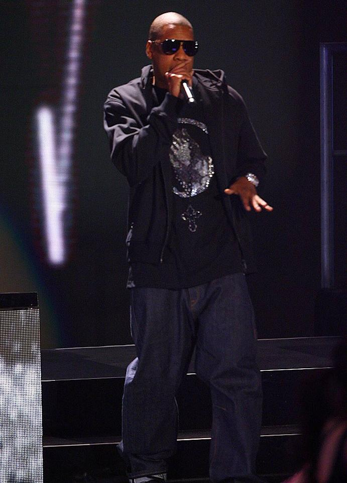"Jay-Z makes a special guest appearance at the MTV Movie Awards. John Shearer/<a href=""http://www.wireimage.com"" target=""new"">WireImage.com</a> - June 3, 2007"