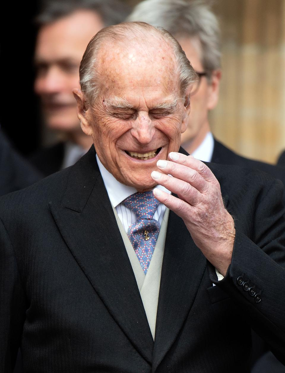 WINDSOR, UNITED KINGDOM - MAY 18: (EMBARGOED FOR PUBLICATION IN UK NEWSPAPERS UNTIL 24 HOURS AFTER CREATE DATE AND TIME) Prince Philip, Duke of Edinburgh attends the wedding of Lady Gabriella Windsor and Thomas Kingston at St George's Chapel on May 18, 2019 in Windsor, England. (Photo by Pool/Max Mumby/Getty Images)