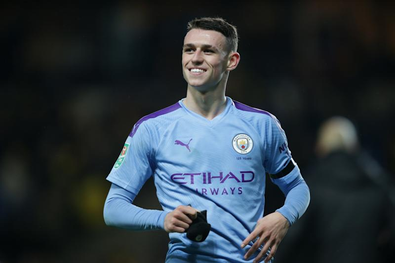 OXFORD, ENGLAND - DECEMBER 18: Phil Foden of Manchester City at the end of his side's 3-1 win during the Carabao Cup Quarter Final match between Oxford United and Manchester City at Kassam Stadium on December 18, 2019 in Oxford, England. (Photo by Robin Jones/Getty Images)