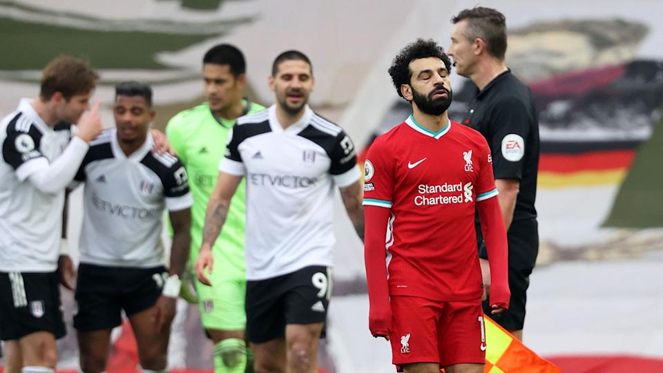 Mo Salah is seen here looking dejected after Liverpool's defeat to Fulham.
