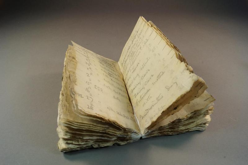 A notebook from Robert Scott's ill-fated Antarctic expedition which was found after a century trapped in the ice of the frozen continent, October 23, 2014 (AFP Photo/)