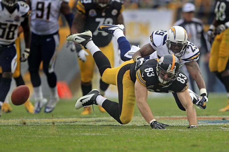 Pittsburgh Steelers tight end Heath Miller (83) can't catch a pass as San Diego Chargers defensive back Shareece Wright (29)defends in the second quarter of an NFL football game in Pittsburgh, Sunday, Dec. 9, 2012. (AP Photo/Gene J. Puskar)