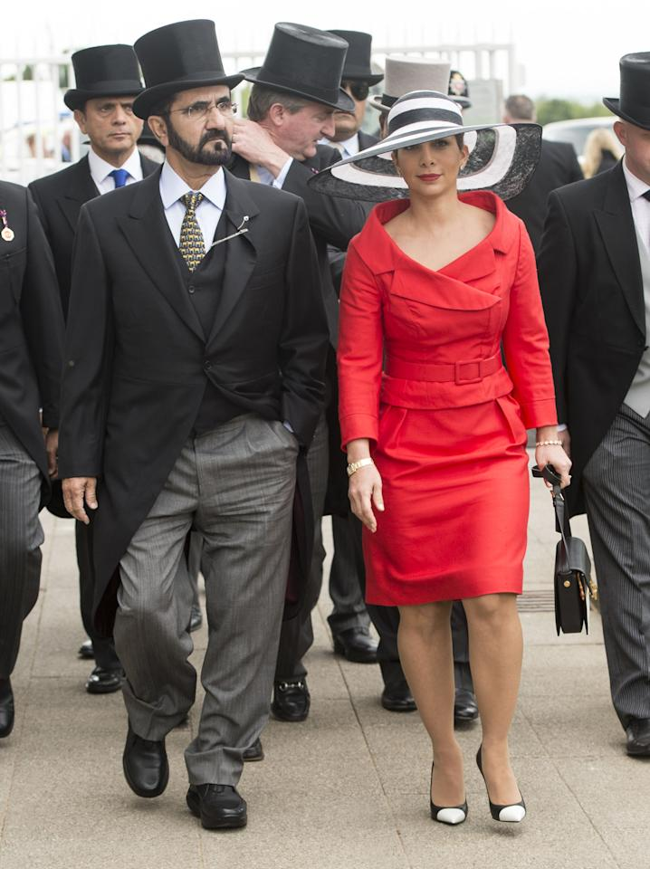 EPSOM, ENGLAND - JUNE 01:  Princess Haya Bint Al Hussein and Sheikh Mohammed Bin Rashid Al Maktoum at The Investec Derby Festival at Epsom Racecourse on June 1, 2013 in Epsom, England.   (Photo by Mark Cuthbert/UK Press via Getty Images)