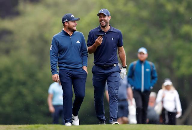 Golf - European Tour - BMW PGA Championship - Wentworth Club, Virginia Water, Britain - May 23, 2018 England's Tyrell Hatton and Jamie Redknapp during the Pro-AM Action Images via Reuters/Paul Childs