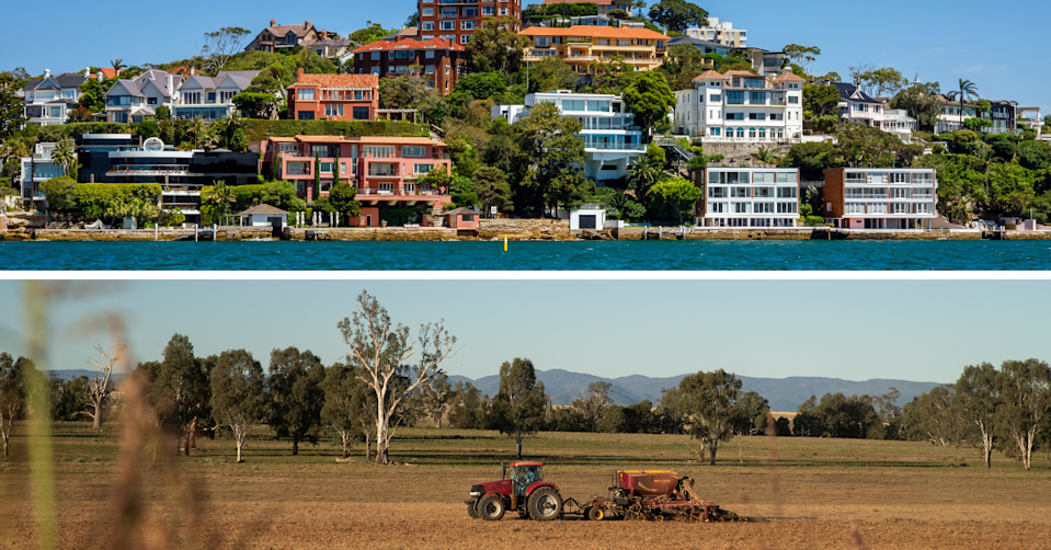 View of Sydney suburb Double Bay taken from the water and image if a tractor in a field in regional NSW