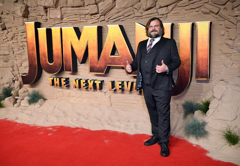 Jack Black looks breath-taking in black suit and pant, at the premiere of Jumanji: The Next Level