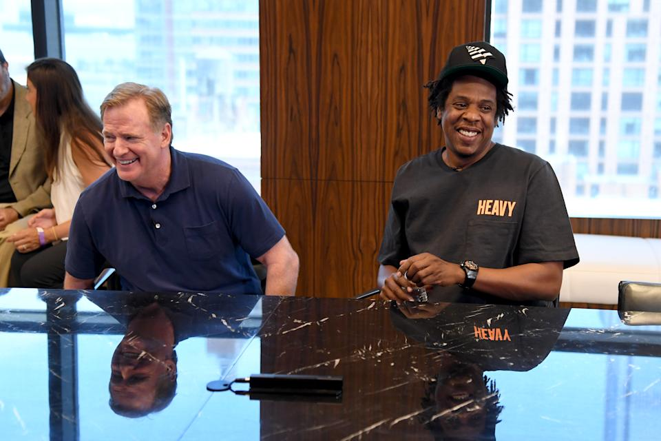 NEW YORK, NEW YORK - AUGUST 14:  NFL Commissioner Roger Goodell and Jay Z at the Roc Nation and NFL Partnership Announcement at Roc Nation on August 14, 2019 in New York City. (Photo by Kevin Mazur/Getty Images for Roc Nation)