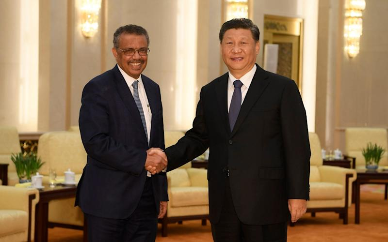 Dr Tedros, the WHO chief, shakes hands with the Chinese President, Xi Jinping, during a visit to foster cooperation around the pandemic response in January - Naohiko Hatta/Pool Phot