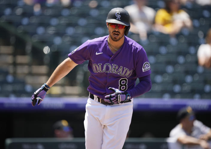 Colorado Rockies' Joshua Fuentes reacts after flying out against Pittsburgh Pirates starting pitcher Chad Kuhl in the second inning of a baseball game Wednesday, June 30, 2021, in Denver. (AP Photo/David Zalubowski)