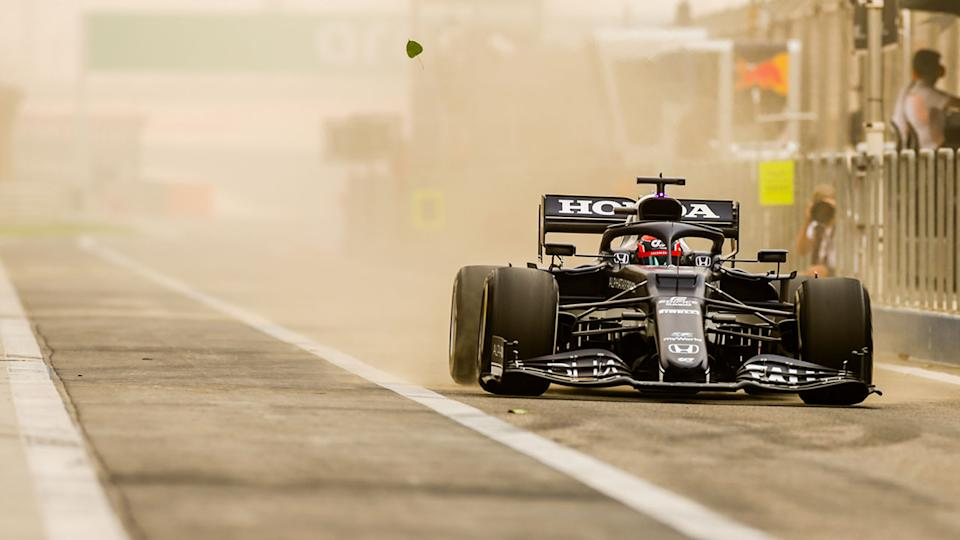 Pictured here, a sand storm wreaks havoc in F1 testing.