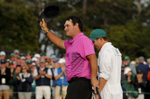 Patrick Reed of the U.S. celebrates winning the 2018 Masters tournament after final round play at the Augusta National Golf Club in Augusta, Georgia, U.S. April 8, 2018. REUTERS/Jonathan Ernst
