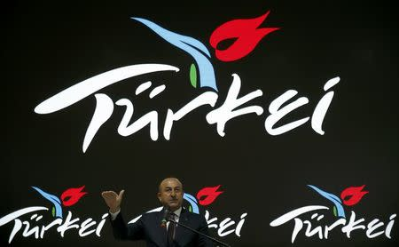 Turkish Foreign Minister Mevlut Cavusoglu at the International Tourism Trade Fair ITB in Berlin, Germany, March 8, 2017.      REUTERS/Fabrizio Bensch