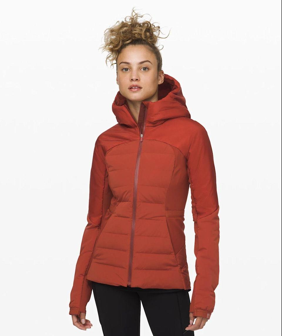 """<p><strong>Lululemon</strong></p><p>lululemon.com</p><p><strong>$198.00</strong></p><p><a href=""""https://go.redirectingat.com?id=74968X1596630&url=https%3A%2F%2Fshop.lululemon.com%2Fp%2Fwhat-we-love%2FDown-For-It-All-Jacket%2F_%2Fprod9201505&sref=https%3A%2F%2Fwww.womenshealthmag.com%2Ffitness%2Fg19963922%2Fwinter-running-gear%2F"""" rel=""""nofollow noopener"""" target=""""_blank"""" data-ylk=""""slk:Shop Now"""" class=""""link rapid-noclick-resp"""">Shop Now</a></p><p>A wind- and water-resistant jacket, this one is designed specifically with runners in mind. It offers a zippered pocket to stash your belongings, thumbholes, and reflective details. Tuttle loves it for chilly days. </p>"""