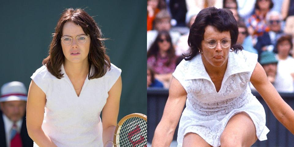"""<p>Stone portrays legendary tennis star Billie Jean King in the 2017 movie <em>Battle of the Sexes. </em>""""Playing Billie Jean was a bit of a game changer,"""" she <a href=""""https://www.marieclaire.com/celebrity/a28644/emma-stone-september-2017-cover/"""" rel=""""nofollow noopener"""" target=""""_blank"""" data-ylk=""""slk:tells"""" class=""""link rapid-noclick-resp"""">tells</a> <em>Marie Claire</em>. She also gained <a href=""""http://www.hollywoodreporter.com/news/oscars-why-emma-stone-gained-15-pounds-la-la-land-972564"""" rel=""""nofollow noopener"""" target=""""_blank"""" data-ylk=""""slk:15 pounds of muscle"""" class=""""link rapid-noclick-resp"""">15 pounds of muscle</a> for the role. Fifteen. Pounds. </p>"""
