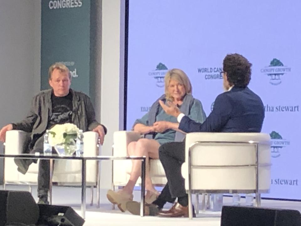 Martha Stewart and Canopy Growth Corp. co-CEO Bruce Linton speaks with Civilized publisher Derek Riedle at the World Cannabis Congress in Saint John, N.B. on Tuesday June 18, 2019.