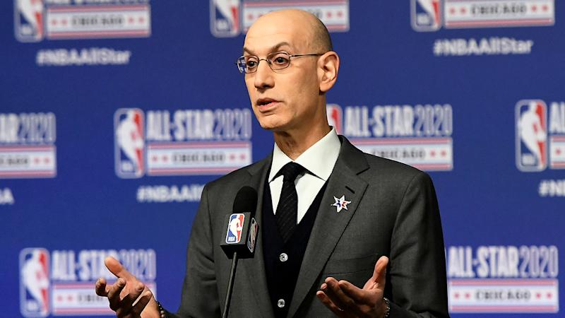 Seen here, NBA Commissioner Adam Silver is facing a bleak financial situation over COVID-19.